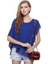 Royal Blue Asymmetrical Chiffon Blouse For Women