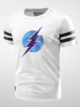 Anime Costumes AF-S2-564087 Halloween The Flash White Cotton Printed Tee for Men