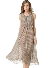 Gray Polka Dot Polyester Maxi Dress For Women