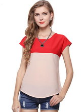 Split camiseta poliéster de cor para as mulheres