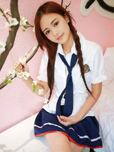 Anime Costumes AF-S2-566883 Halloween Nerd Costume Sexy Blue 2-Piece Polyester School Girl Costume
