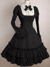 Готическое платье в стиле лолиты OP Black Bows Ruffles Cotton Lolita One Piece Dress