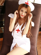 Anime Costumes AF-S2-567477 Halloween White V-neck Polyester Nurse Costume for Women