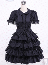 Lolitashow Black Layered Ruffels Cotton Gothic Lolita One-Piece