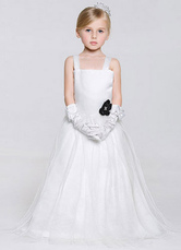 Strapy A-Line Satin Tulle Floor-Length Flower Girl Dress