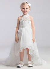 High-Low Halter Neck Lace Applique Organza Flower Girl Dress