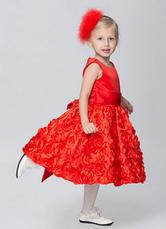 Satin Rose Flower Girl Dress