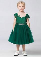 Off-the-Shoulder Satin Tulle Flower Girl Dress