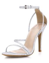 Noche de Glitter plata y sandalias de novia para mujeres
