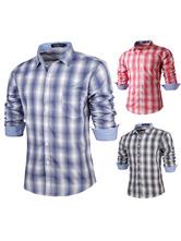 Голубой плед хлопок случайных рубашка для человека