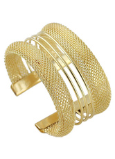 Contemporary Gold Alloy Geometric Bracelet For Woman