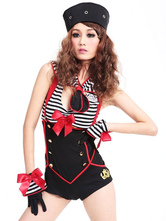 Anime Costumes AF-S2-567979 Halloween Black Stripe Polyester Sailor Costume for Women