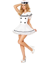 Anime Costumes AF-S2-567995 Halloween White Buttons Polyester Sailor Costume for Women
