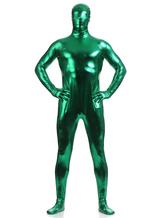 Dark Green Shiny Metallic Zentai Suits for Men Halloween