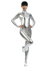 Anime Costumes AF-S2-568403 Silver Zippered Shiny Metallic Zentai Suit for Women