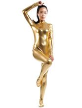 Anime Costumes AF-S2-568441 Shiny Metallic Zentai Suit Yellow Zippered Halloween Costume Cosplay