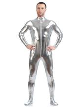Faschingskostüm glänzend metallisch Cosplay Zentai-Anzug für Männer in Silber