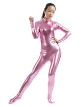 Anime Costumes AF-S2-568445 Zippered Halloween Costume Cosplay Shiny Metallic Zentai Suit Pink