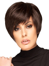 Anime Costumes AF-S2-568973 Chocolate Straight Side-swept Bangs Woman's Wig In Boycuts