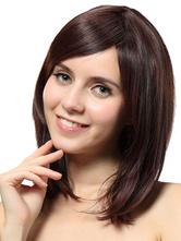AF-S2-568975 Brown Side-swept Bangs Medium Wig For Women