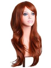 AF-S2-568989 Brown Side-swept Bangs Woman's Long Wig