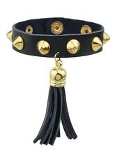 Black Rivets Faux Leather Bracelet For Woman
