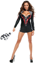 Anime Costumes AF-S2-569573 Halloween Sexy Black Polyester Race Car Driver Costume for Women