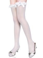 Lolitashow White Bow Synthetic Lolita Socks for Girls