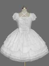 White Bows Cotton Gothic Lolita One-Piece for Girls