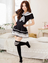 Lolitashow Black White Bows Polyester Lolita Dress
