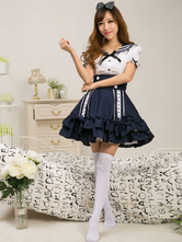Lolitashow Sailor Style White Lolita Blouse Dark Blue Skirt Sets Short Sleeves Ruffles
