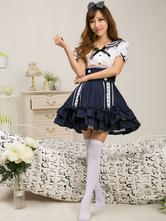 Lolitashow Marin Style Robe Lolita charmante en tissu uniforme bleu marine avec noeud Jolie col à revers