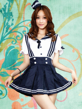Navy Polyester Bows Lolita Jumper Skirt