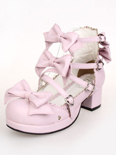 Rosa arcos PU Lolita saltos para mulheres