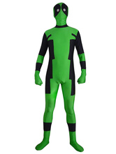 AF-S2-570563 Halloween Deadpool Costume Cosplay Green Zentai Suit Lycra Spandex Super Man Full Bodysuit