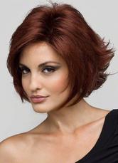 Parrucca mogano fibra resistente al calore per donna