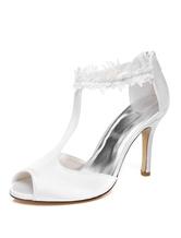 White Wedding Shoes Satin Peep Toe T Type High Heel Bridal Shoes Women Evening Sandals