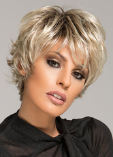 Anime Costumes AF-S2-570929 Women's Short Wigs Curly Wig With Bangs Blonde Wig For Women In Heat-resistant Fiber