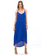 Cintas azules vestido poliéster para mujeres