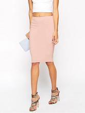 Poliéster con cremallera rosa falda para las mujeres