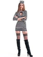 Anime Costumes AF-S2-571625 Halloween Black&White Prisoner Mardi Gras Polyester Costumes for Women