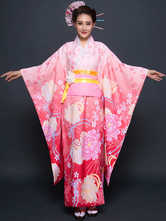 Anime Costumes AF-S2-571813 Red Floral Print Matte Satin Kimono for Women