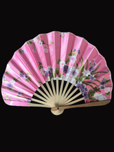 Anime Costumes AF-S2-571797 Japanese Pink Floral Print Bamboo Fan