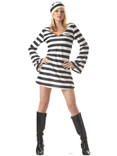 Anime Costumes AF-S2-571623 Halloween Black&White Prisoner Mardi Gras Polyester Costumes for Women