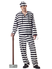 Anime Costumes AF-S2-571621 Halloween Black&White Prisoner Mardi Gras Polyester Costumes for Men
