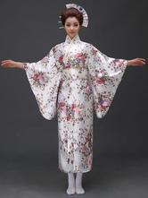 Anime Costumes AF-S2-571807 White Floral Print Matte Satin Kimono for Women