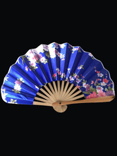Anime Costumes AF-S2-571793 Japanese Blue Floral Print Bamboo Fan