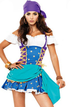 Anime Costumes AF-S2-571569 Halloween Blue Pirate Mardi Gras Polyester Costume for Women