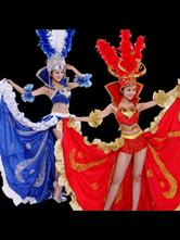 Top et jupe en satin et satin mat d'Espagne bleu et rouge Déguisements Halloween
