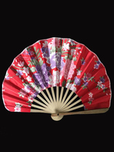 Anime Costumes AF-S2-571799 Japanese Red Floral Print Bamboo Fan